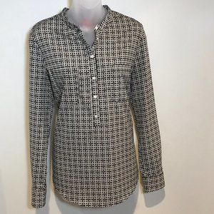 Joe Fresh B&W/Tan Geometric Button Up Blouse, Sz M